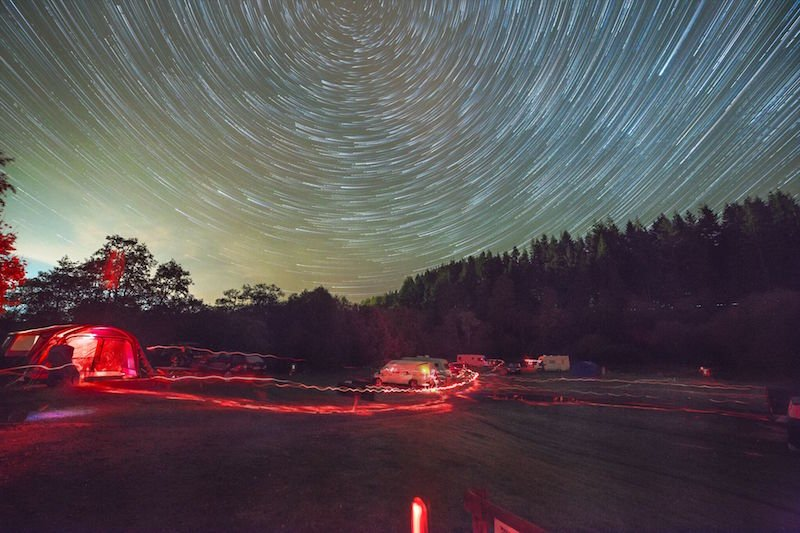 Startrails over Kielder Campsite