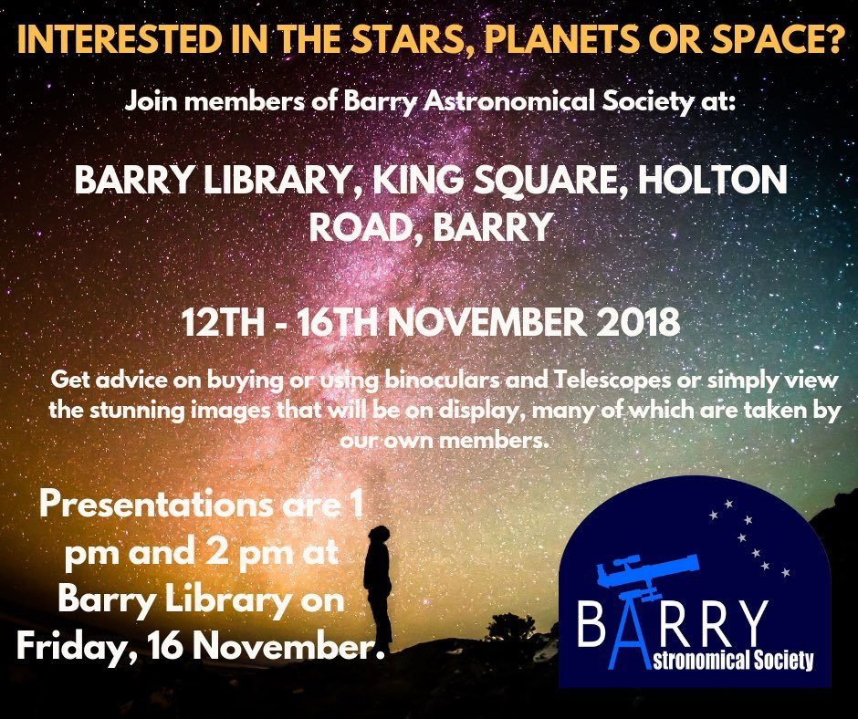 Telescope Advice and Presentations at Barry Library