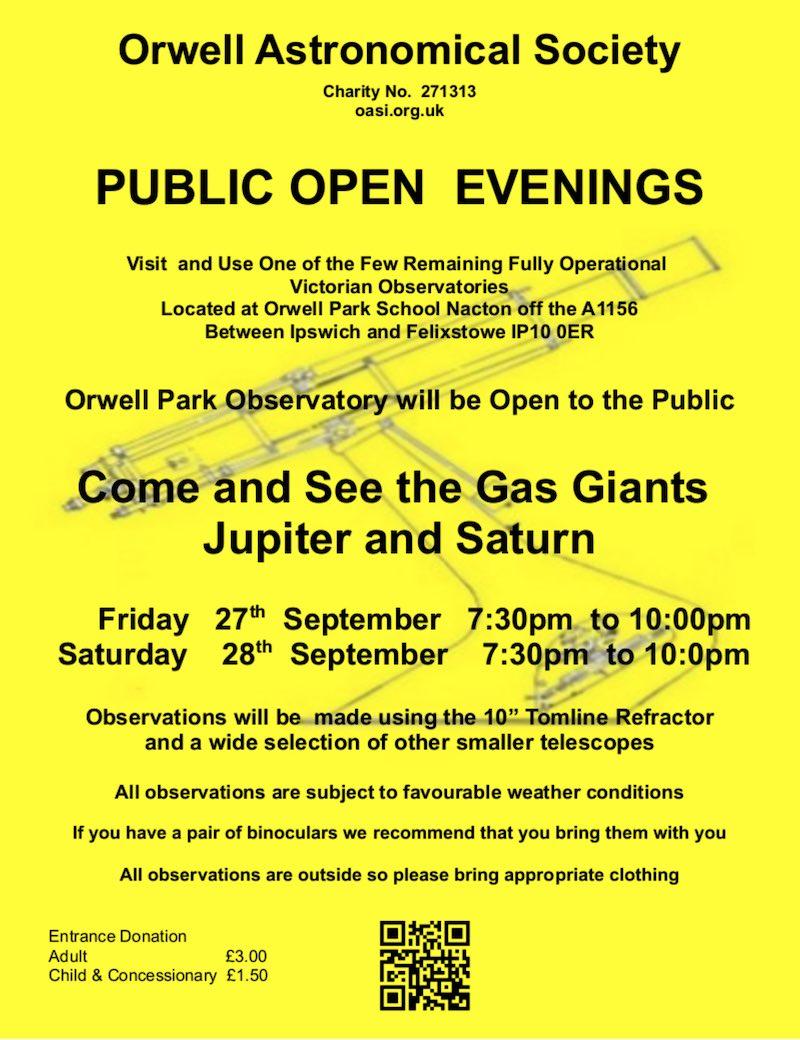 Orwell Park Observatory Public Open Evening