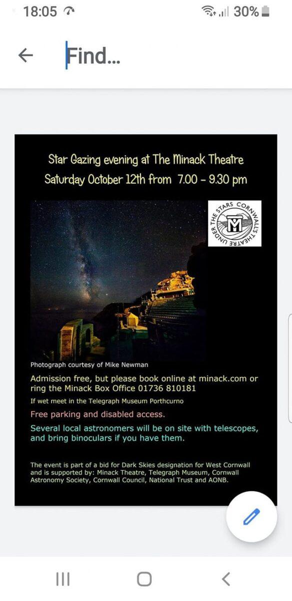 Stargazing Evening at The Minack Theatre