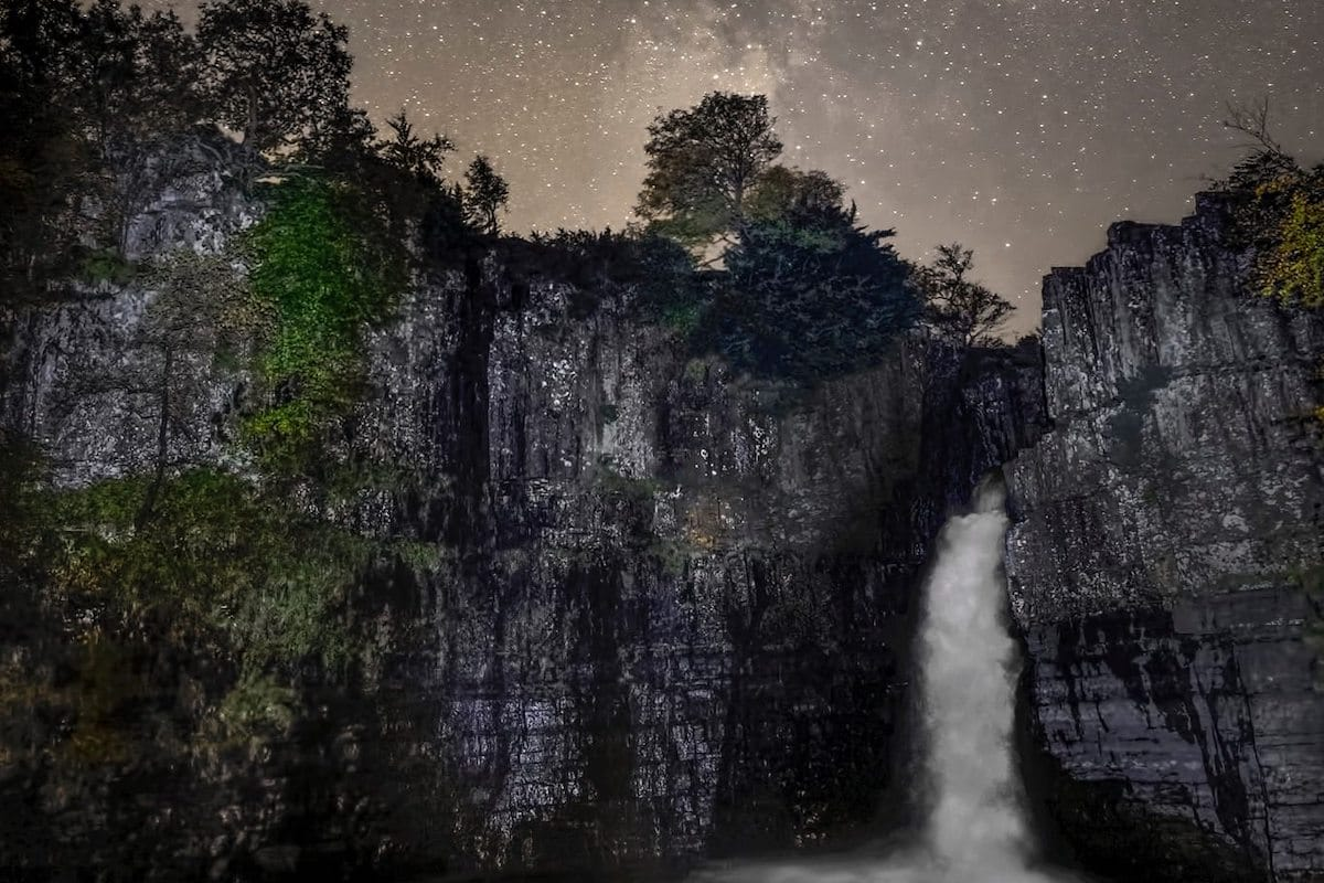 Stargazing at High Force Waterfall